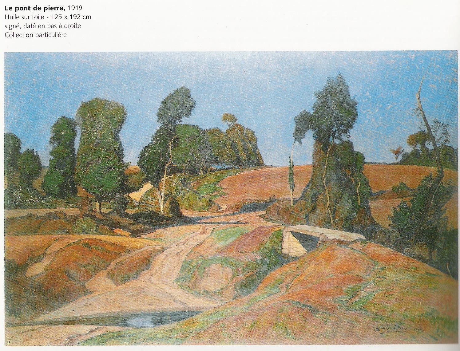Le pont de pierre-1919 (huile sur toile-125x192 cm-Collection particulière)