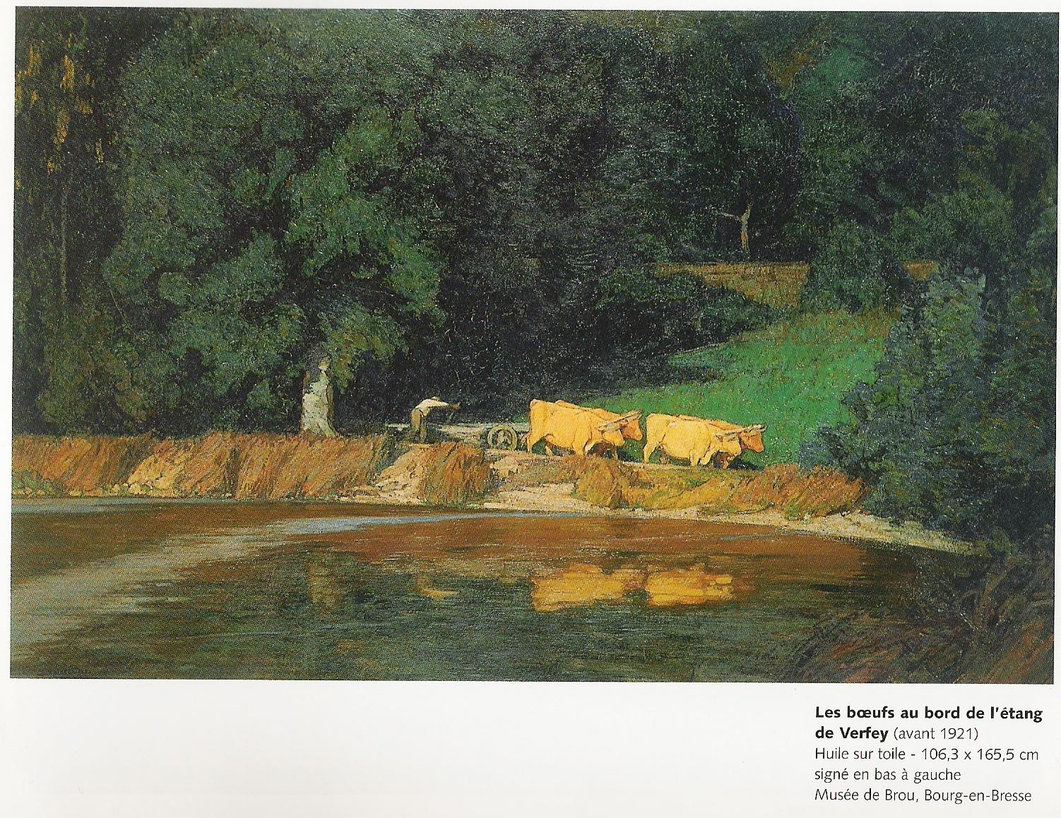 Les boeufs au bord de l'étang de Verfey (avant 1919)-Huile sur toile 106,3x165,5cm Musée de Brou à Bourg en Bresse