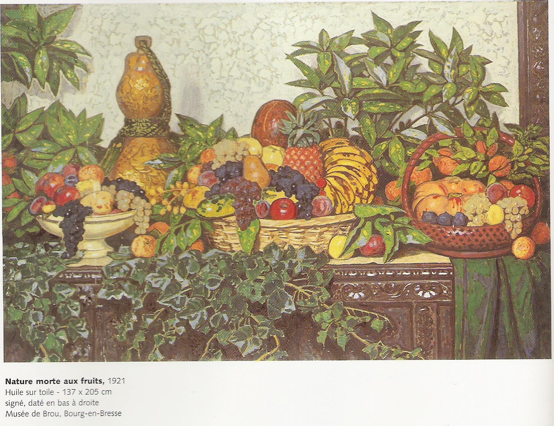 Nature morte aux fruits-Toile peinte par Jules Migonney-1921-Huile sur toile 137x205cm-Musée de Brou à Bourg en Bresse