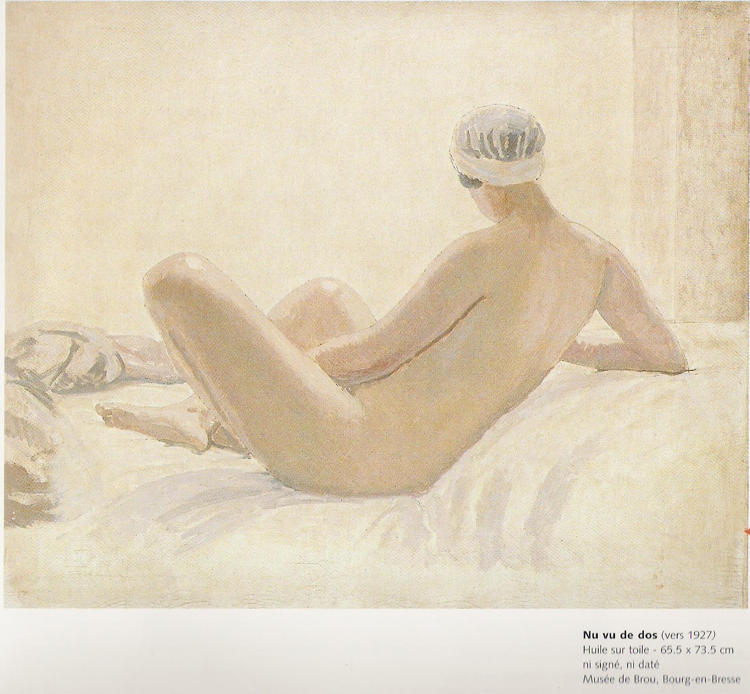 Nu vu de dos-Toile peinte par Jules Migonney vers 1927-Huile sur toile 62,5x73,5cm-Musée de Brou à Bourg en Bresse
