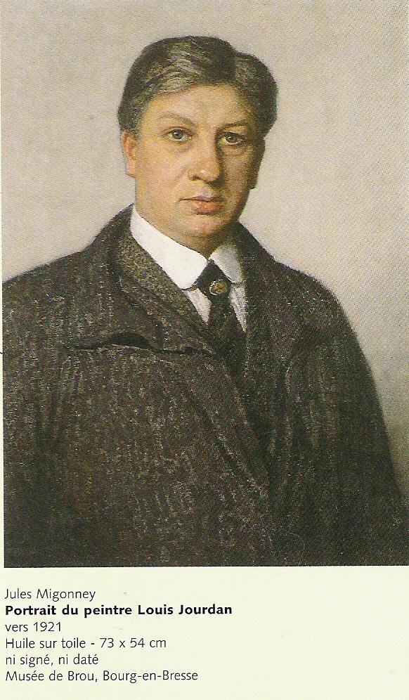 Portrait du Peintre Louis Jourdan peint par Jules Migonney (dont il fut l'exécuteur testamentaire)-Huile sur toile 73x54-Musée de Brou à Bourg en Bresse