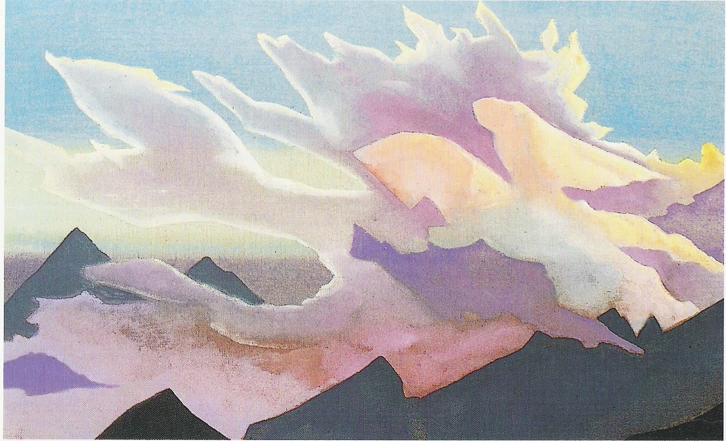 Guerrier de Lumière-Détrempe sur toile-48,2x78,70cm-Collection Stibb-Greenwich-Connecticut