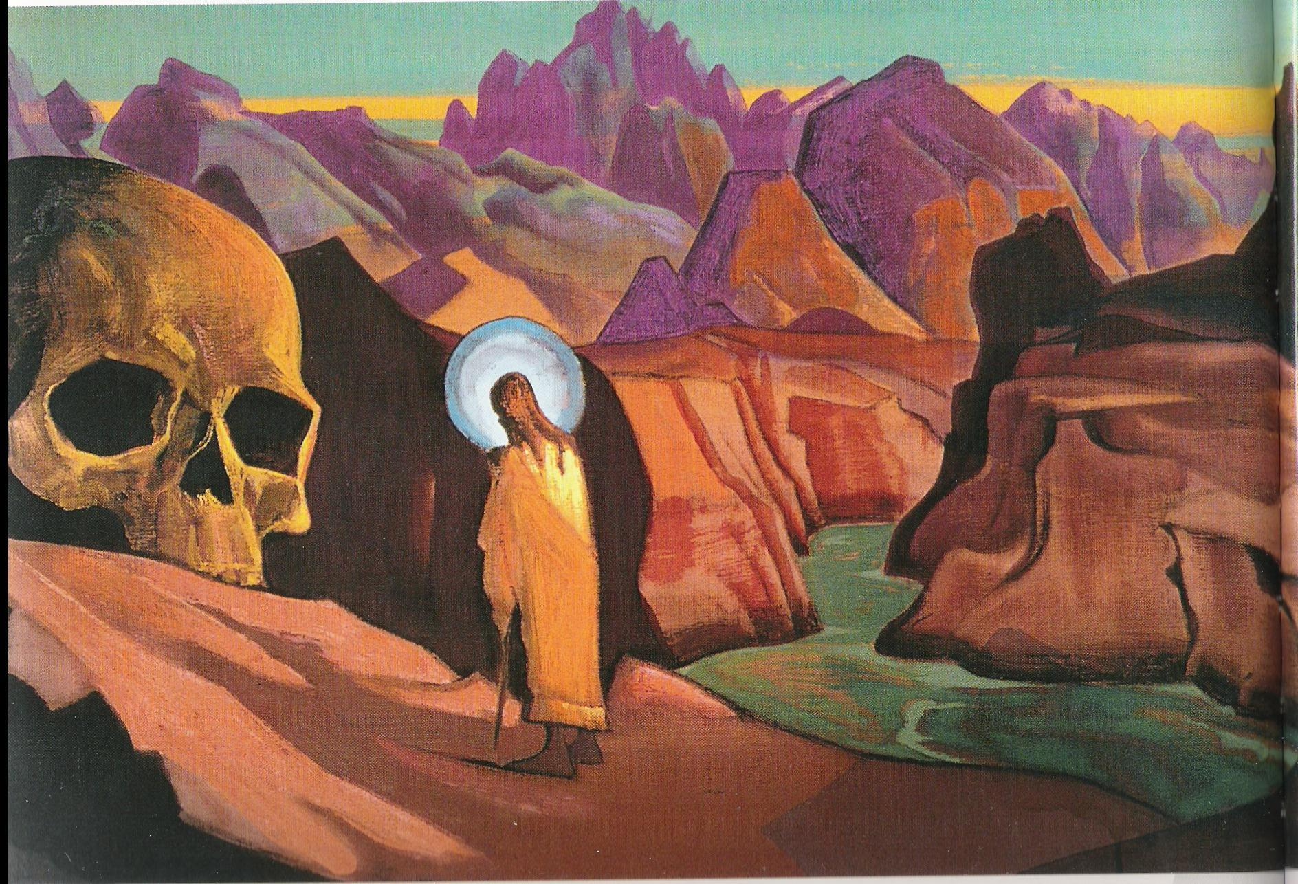 Issa et le crâne du géant-1933-Détrempe sur toile-120x76,20cm-Musée Nicolas Roerich-New York