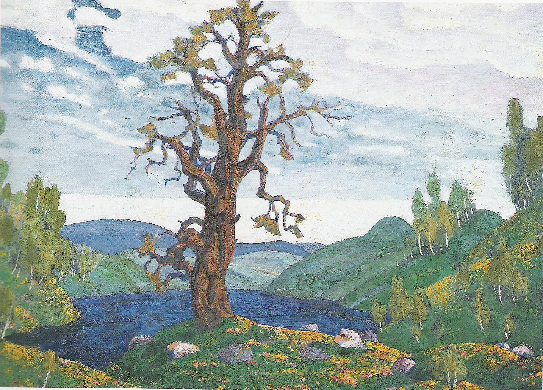 Le Baiser à la Terre (Esquisse de décor pour l'acte 1 du Sacre du Printemps) 1912-Détrempe sur carton-62x94cm-Musée Russe-Saint Pétersbourg.