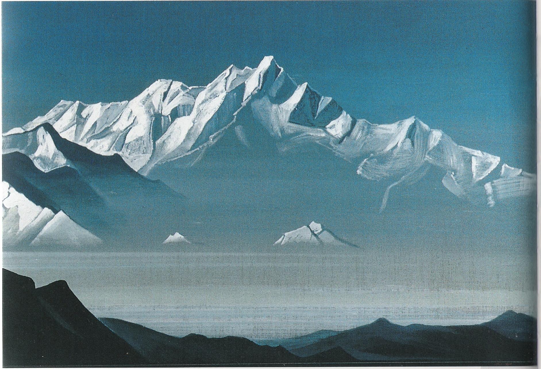 Le Mont aux cinq trésors-année 1930-Détrempe sur toile-78,7x46,4-Musée Nicolas Roerich-New York