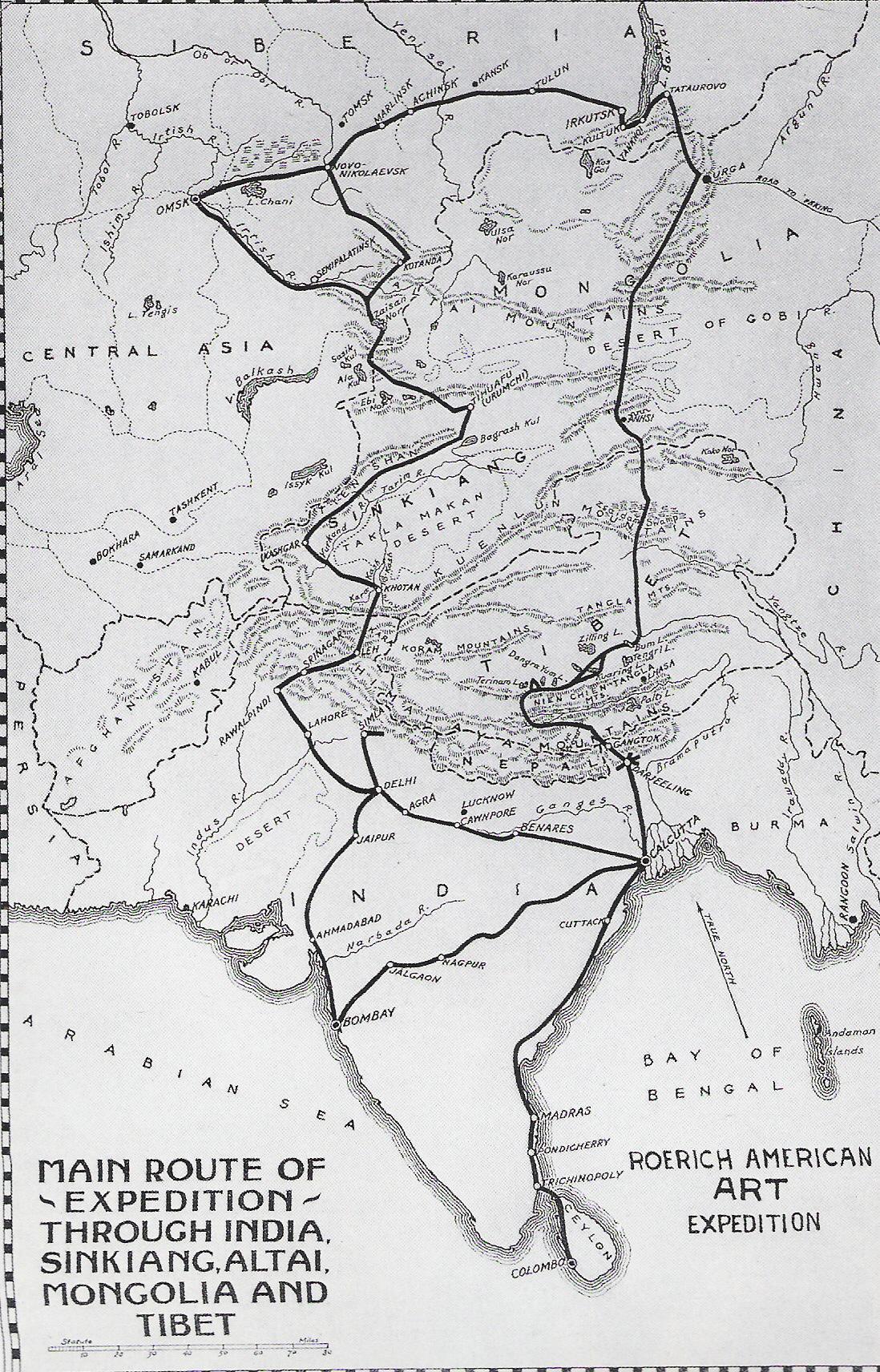 Plan de l'expédition Roerich en Asie centrale - 1925-1928