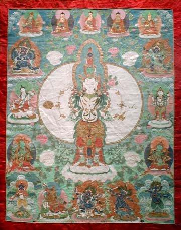 Tanka bouddhiste tibétain représentant Avalokitesvara Bodhisattva